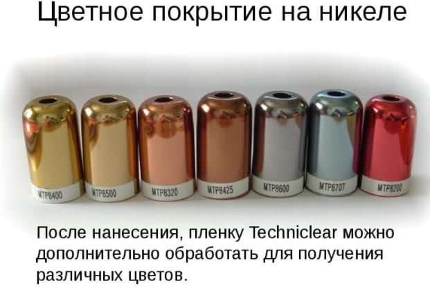 Цветное покрытие на никеле