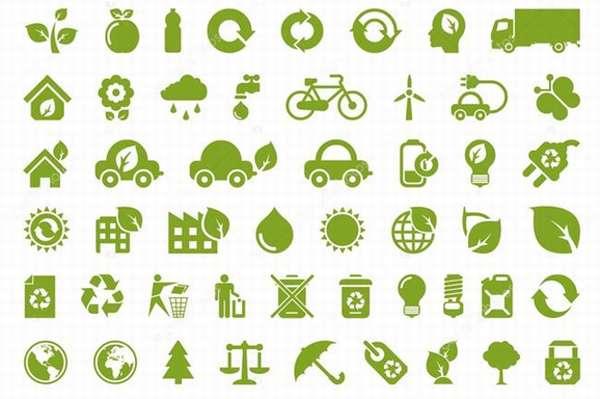 зеленые знаки переработки