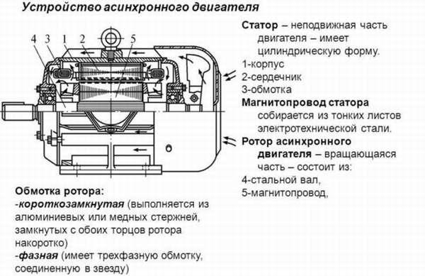 Устройство асинхронного двигателя