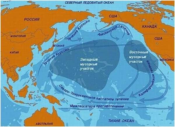 карта мусора в тихом океане