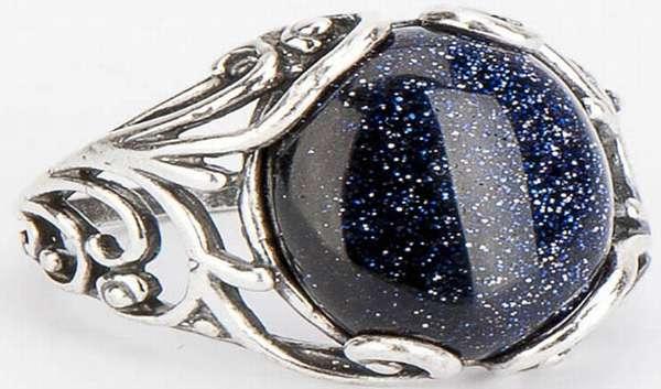 Кольцо с черным камнем агатом