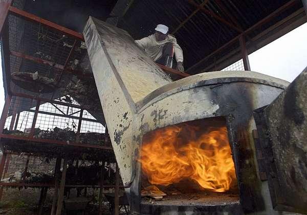 сжигании отходов в специальных печах