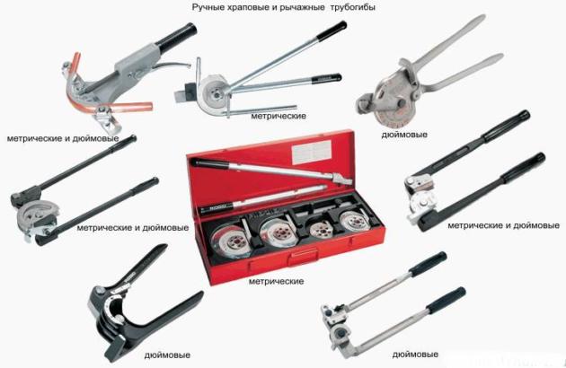 Есть разные варианты ручных конструкций, предназначенных для сгибания труб