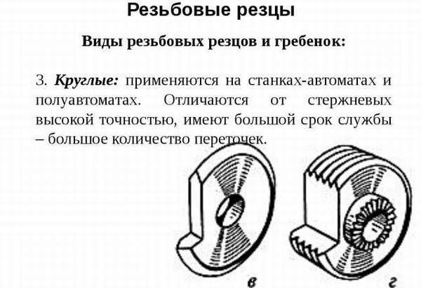 Резьбовые резцы круглые