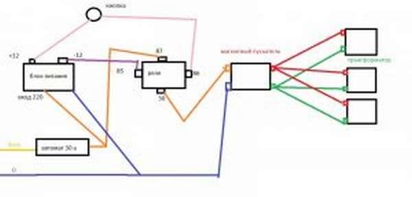Споттер из микроволновки - схема подключения