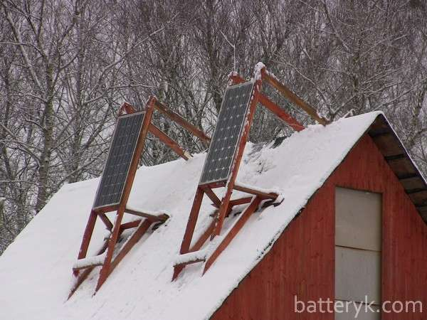 Положение панелей зимой