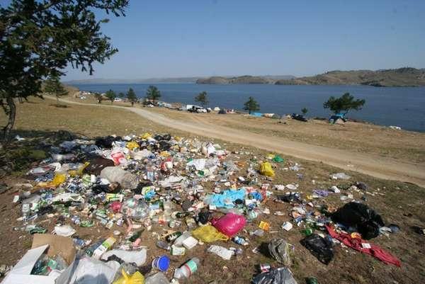 мусор на берегу Байкала