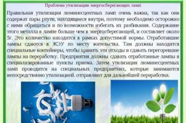 Проблема утилизации энергосберегающих ламп