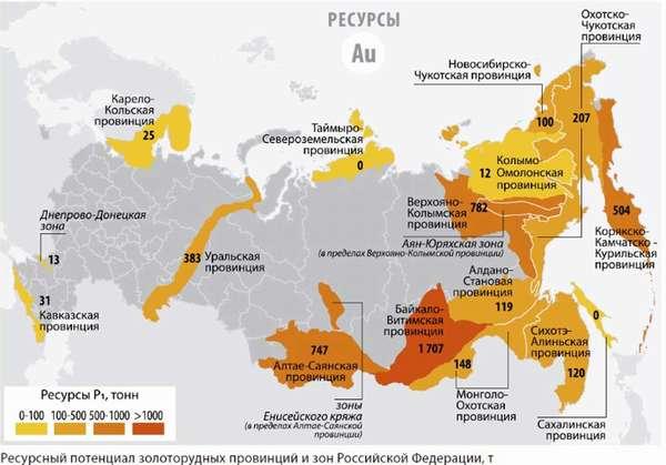 ТОП-4 самых крупных месторождений золота в России + карта всех приисков с объемами добычи