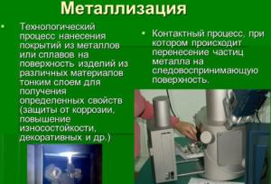 Технологический процесс вакуумной металлизации